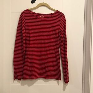 J. Crew Red and Navy Striped Artist T